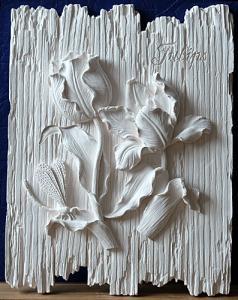 цветы на дощечках тюльпаны