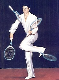 жонглер с ракетками